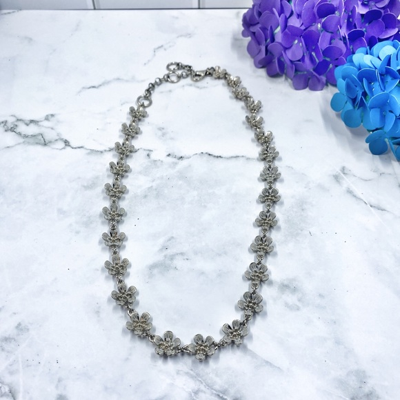 Banana Republic Statement Necklace -Silver Flowers
